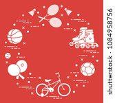 badminton rackets and... | Shutterstock .eps vector #1084958756