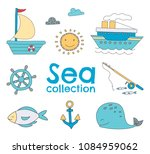 vector sea set with hand drawn... | Shutterstock .eps vector #1084959062