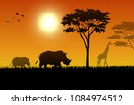 animals silhouette in sunset at ... | Shutterstock .eps vector #1084974512