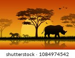 Stock vector animals silhouette in sunset at savanah 1084974542
