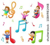 children are playing together... | Shutterstock .eps vector #1084981448
