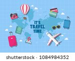 it is travel time. travel... | Shutterstock .eps vector #1084984352