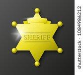 wild west sheriff metal gold... | Shutterstock .eps vector #1084986212