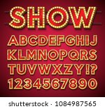 light bulb alphabet with gold... | Shutterstock .eps vector #1084987565