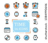 thin line time icon set vector... | Shutterstock .eps vector #1084990646