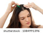 young woman with problem hair.... | Shutterstock . vector #1084991396