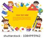 back to school. happy children... | Shutterstock .eps vector #1084995962