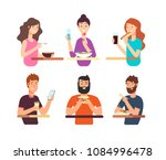people  hungry persons eating... | Shutterstock .eps vector #1084996478