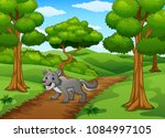 the wolf walking in way of... | Shutterstock .eps vector #1084997105