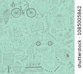 cartoon hand drawn doodles in... | Shutterstock .eps vector #1085005862