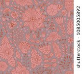 vector floral pattern with... | Shutterstock .eps vector #1085005892
