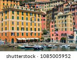 boats on the water in a small... | Shutterstock . vector #1085005952