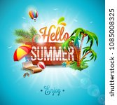 vector hello summer holiday... | Shutterstock .eps vector #1085008325
