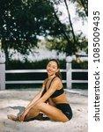 beautiful fitness girl... | Shutterstock . vector #1085009435