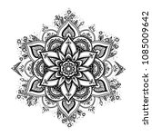 black isolated ethnic mandala... | Shutterstock .eps vector #1085009642