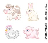 set of cute cartoon characters. ... | Shutterstock .eps vector #1085017262
