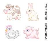 set of cute cartoon characters. ... | Shutterstock .eps vector #1085017262