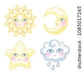 set of cute cartoon characters. ... | Shutterstock .eps vector #1085017265