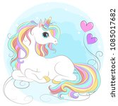 white unicorn with rainbow hair ... | Shutterstock .eps vector #1085017682