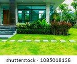pathway in garden  green lawns... | Shutterstock . vector #1085018138