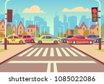 cartoon city crossroads with... | Shutterstock .eps vector #1085022086
