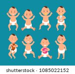 cute baby boy in diaper. infant ... | Shutterstock .eps vector #1085022152