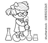 girl making science experiments.... | Shutterstock .eps vector #1085023265