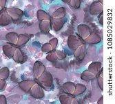 Stock photo seamless pattern with butterflies and flowers watercolor 1085029832