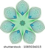 floral guilloche rosette with... | Shutterstock .eps vector #1085036015