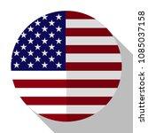 flag america   round flatstyle... | Shutterstock .eps vector #1085037158