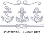 anchors with rope. hand drawn... | Shutterstock .eps vector #1085041895