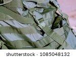green tactical backpack... | Shutterstock . vector #1085048132