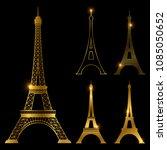 different golden eiffel tower... | Shutterstock .eps vector #1085050652