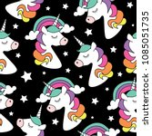 unicorn drawings on black... | Shutterstock .eps vector #1085051735