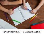 children do homework at the... | Shutterstock . vector #1085052356