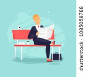 businessman sitting on a bench... | Shutterstock .eps vector #1085058788