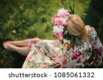 young and beautiful blonde girl ... | Shutterstock . vector #1085061332