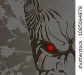 kabuki mask on gray background. ... | Shutterstock .eps vector #1085064878