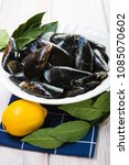 Small photo of Fresh and alive mussels for cooking cleaned and ready to be steamed