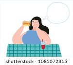 overweight young woman with... | Shutterstock .eps vector #1085072315