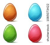 cartoon four color egg on the... | Shutterstock .eps vector #1085073422