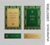 luxury wedding invitation or... | Shutterstock .eps vector #1085073836