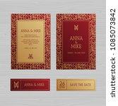 luxury wedding invitation or... | Shutterstock .eps vector #1085073842