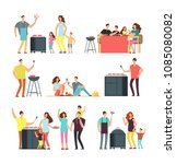 resting people on bbq picnic.... | Shutterstock .eps vector #1085080082