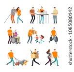 young volunteers help to... | Shutterstock .eps vector #1085080142