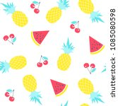 fruit pattern. watermelon ... | Shutterstock .eps vector #1085080598