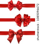 set of red beautiful satin bows ... | Shutterstock .eps vector #1085096672