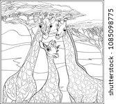 background with giraffe family. ... | Shutterstock .eps vector #1085098775