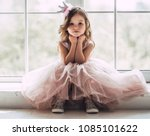 little cute girl in beautiful... | Shutterstock . vector #1085101622