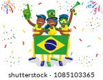 Stock vector russia world cup brazil football fans cheerful soccer fans supporters crowd and brazilians 1085103365